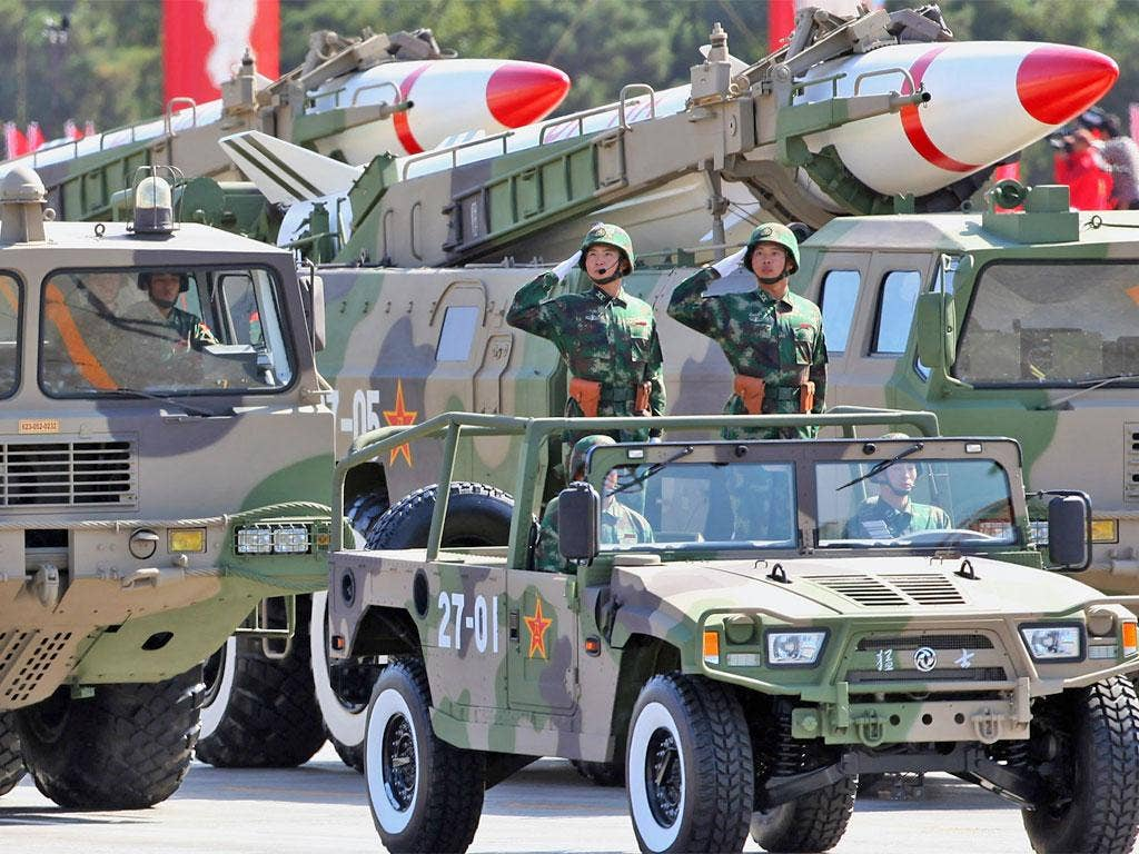 Chinese missiles are displayed at a military parade in Beijing