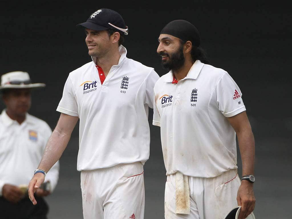 Monty Panesar and James Anderson share the spoils