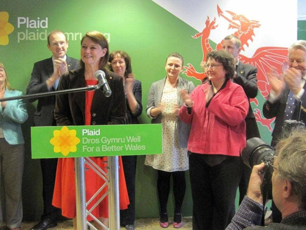 Leanne Wood beat former leader Lord Elis-Thomas (far right), and the widely tipped Elin Jones (fourth right), to replace outgoing Ieuan Wyn Jones.