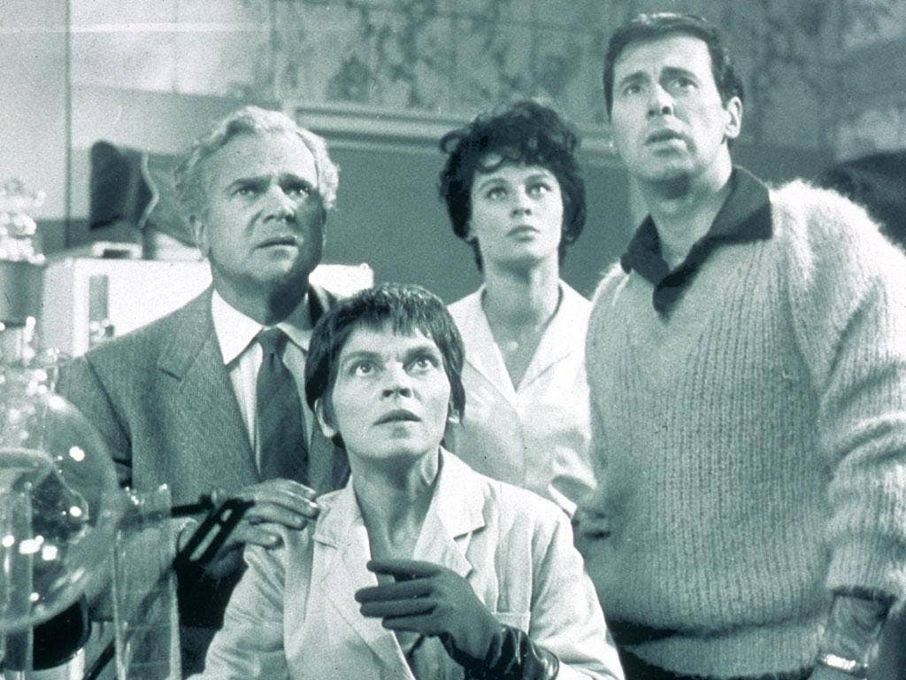 'A for Andromeda': from left, Esmond Knight, Mary Morris, Julie Christie and Halliday
