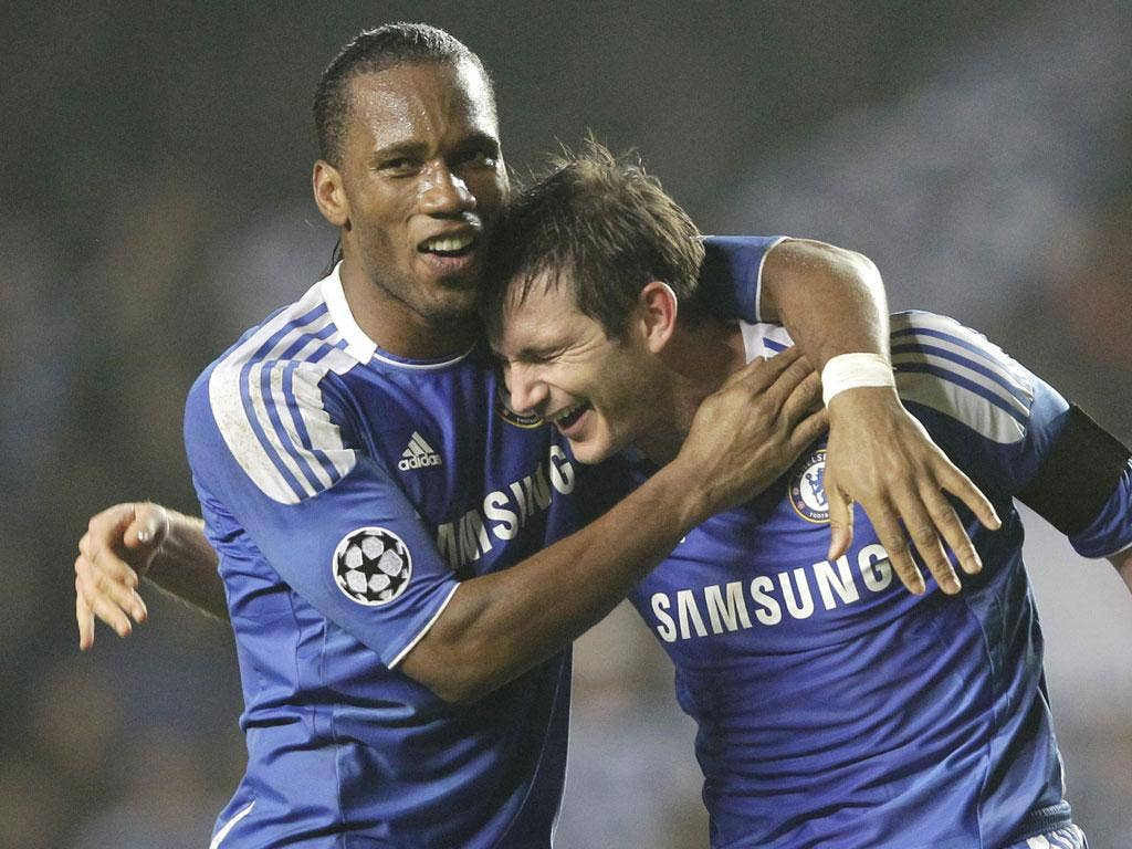 Frank Lampard (right) and Didier Drogba celebrate after Chelsea's extra-time win over Napoli at Stamford Bridge on Wednesday