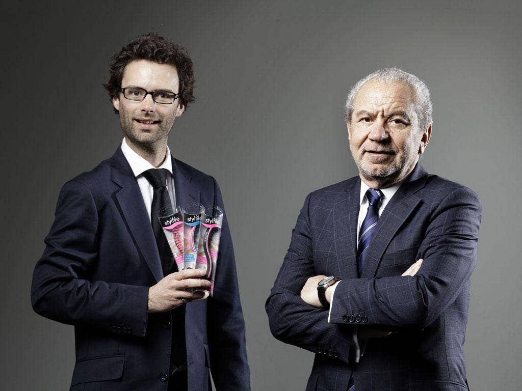 Lord Sugar with last year's Apprentice winner Tom Pellereau