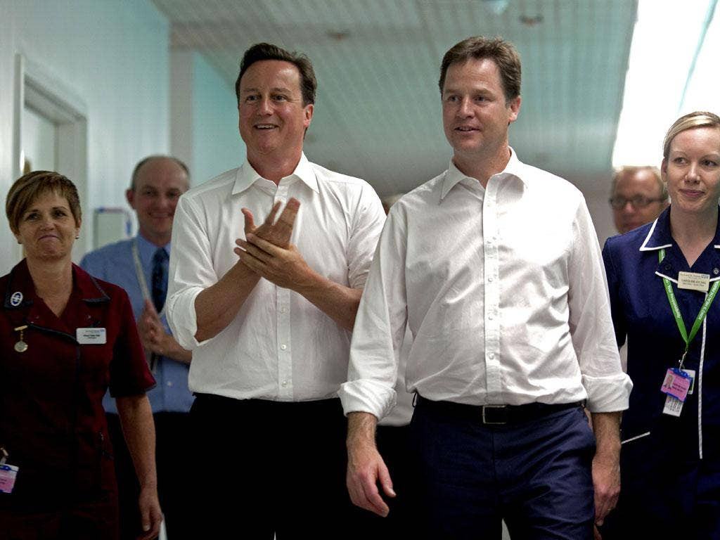 'Where's the fence, and do you have the ring?' David Cameron and Nick Clegg on a visit to Guy's Hospital