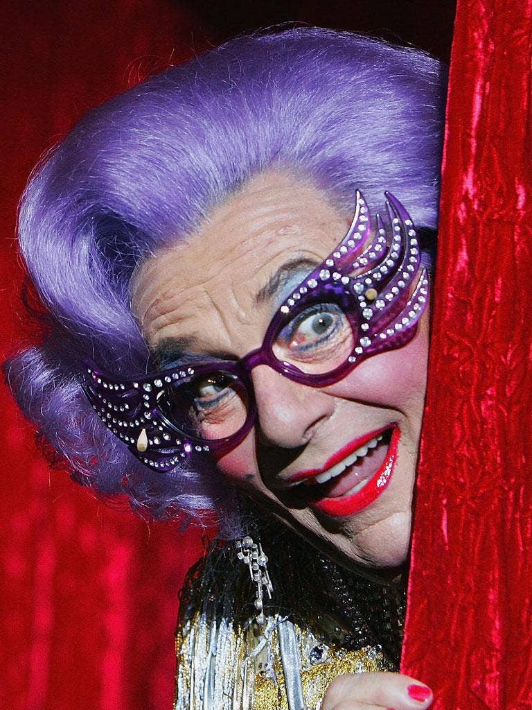 Barry Humphries as the world's most famous drag act, Edna Everage