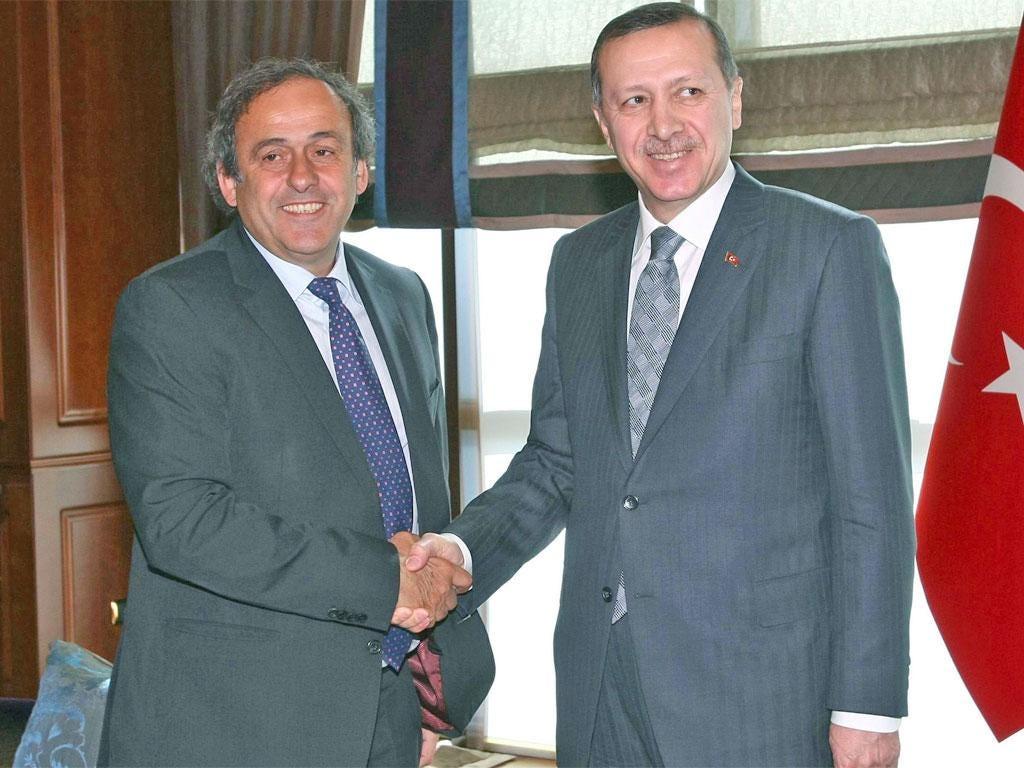 Turkish PM Tayyip Erdogan (right) with Uefa's Michel Platini
