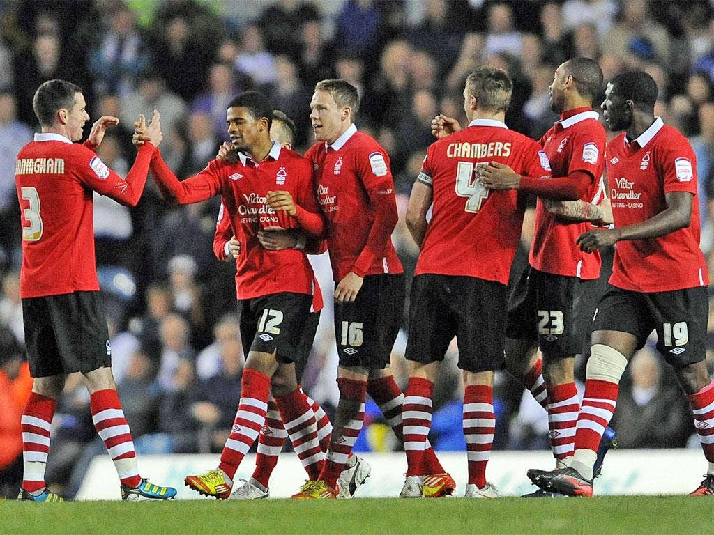 Garath McCleary (second left) is congratulated after scoring one of his four goals