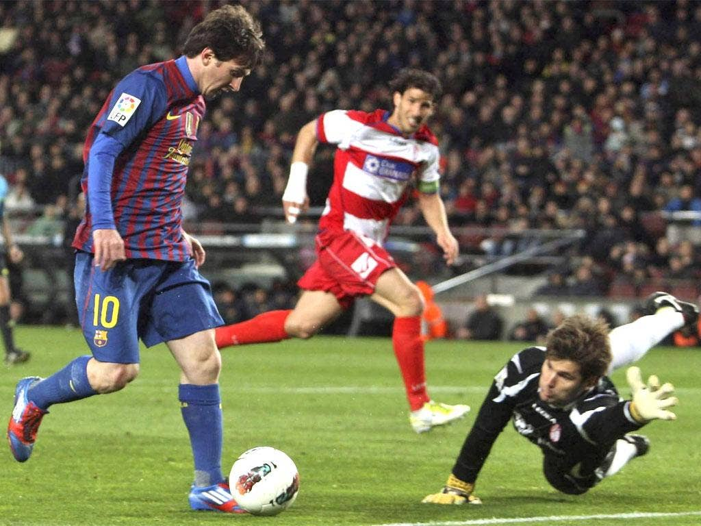 Messi scoring his third goal last night, the 234th of his Barcelona career