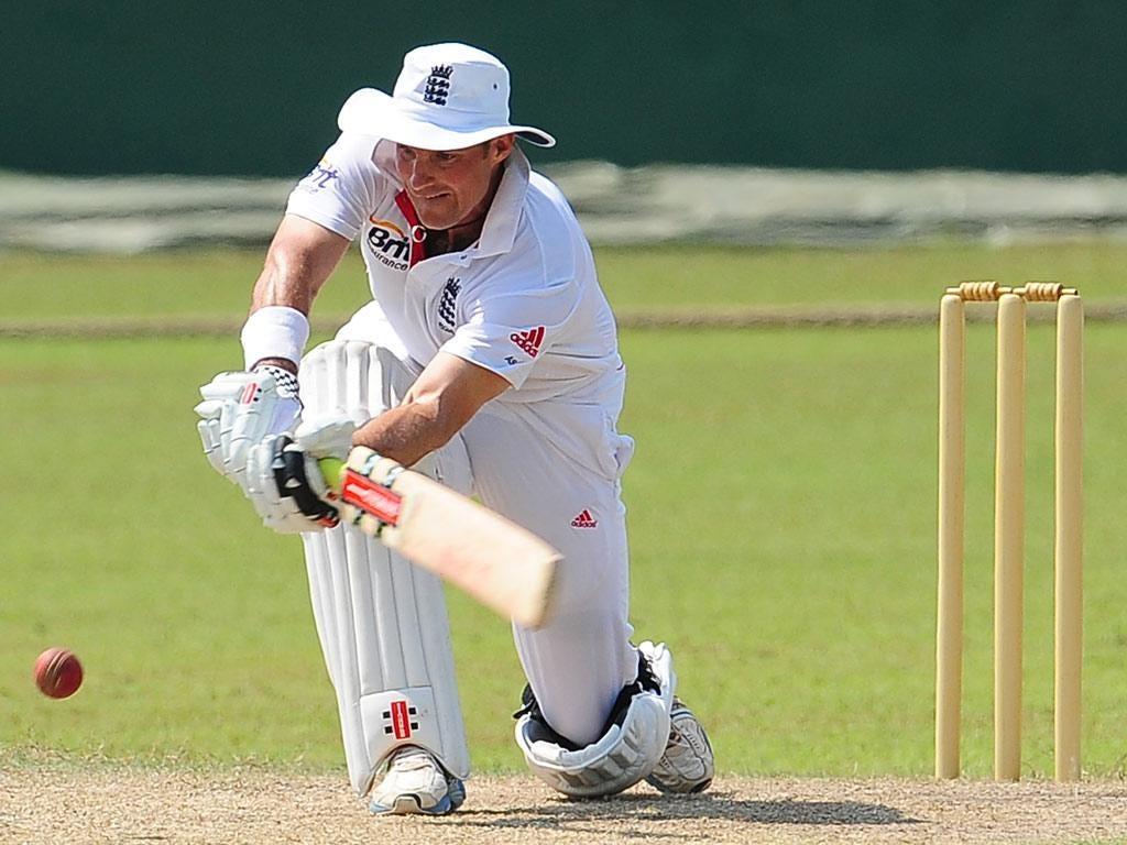 Andrew Strauss in action in Sri Lanka