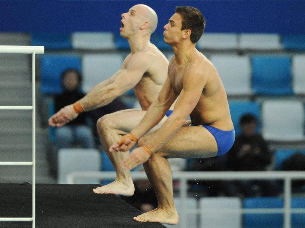Thomas Daley (right) and Peter Waterfield in action