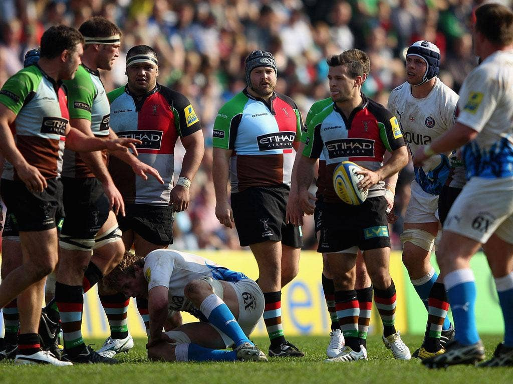 Just a Mo: The controversial Mo Fa'asavalu celebrates his try against Bath in a fractious display at The Stoop