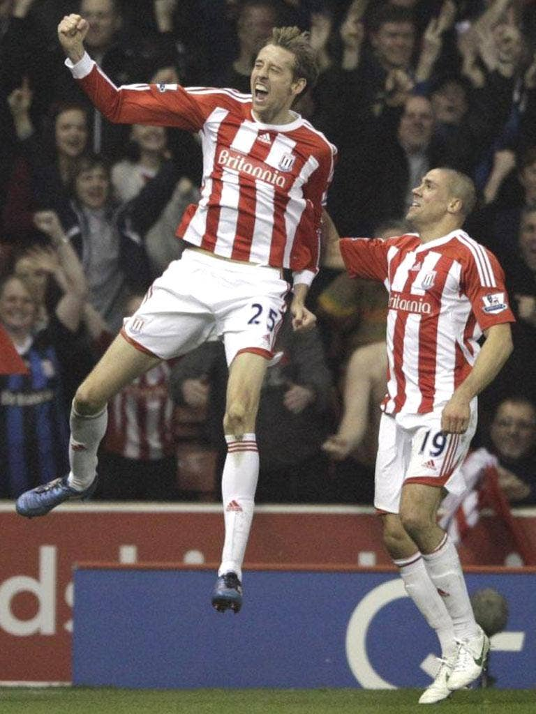 Peter Crouch enjoys his wonder strike against Manchester City