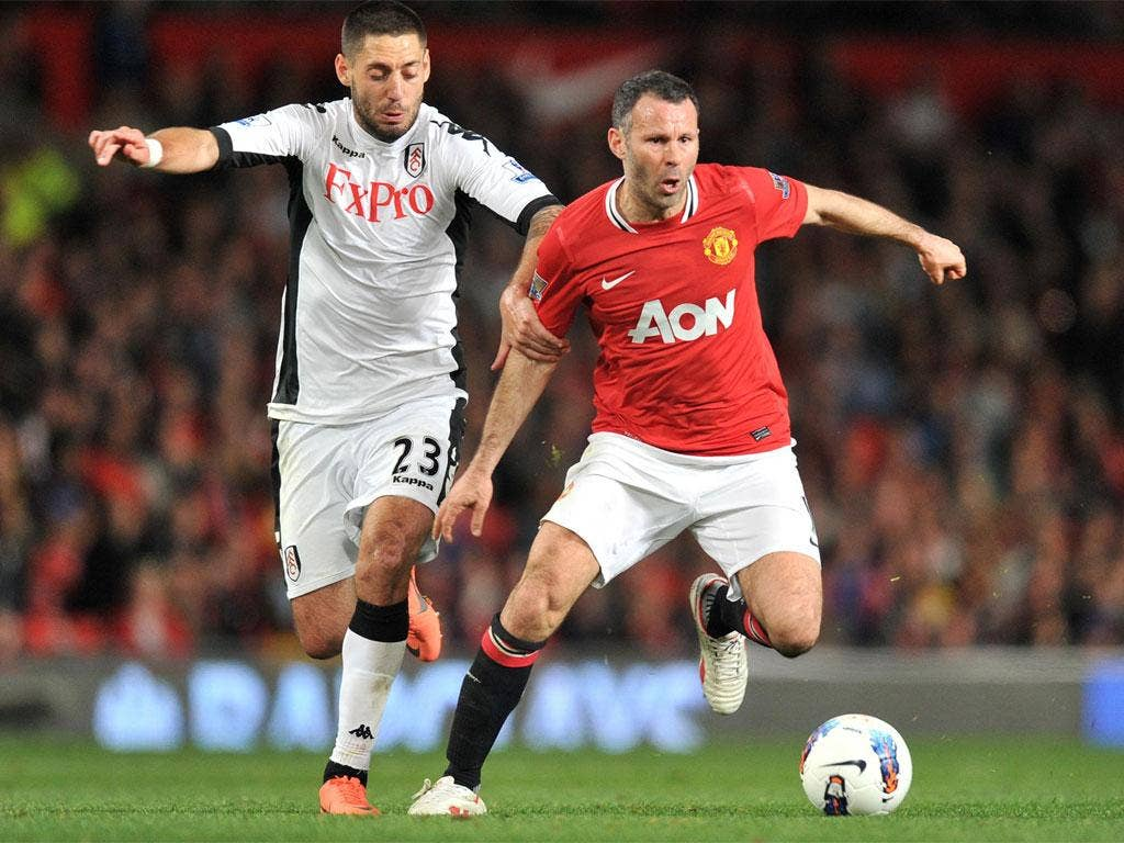 Ryan Giggs in action during Manchester United's 1-0 victory over Fulham on Monday night