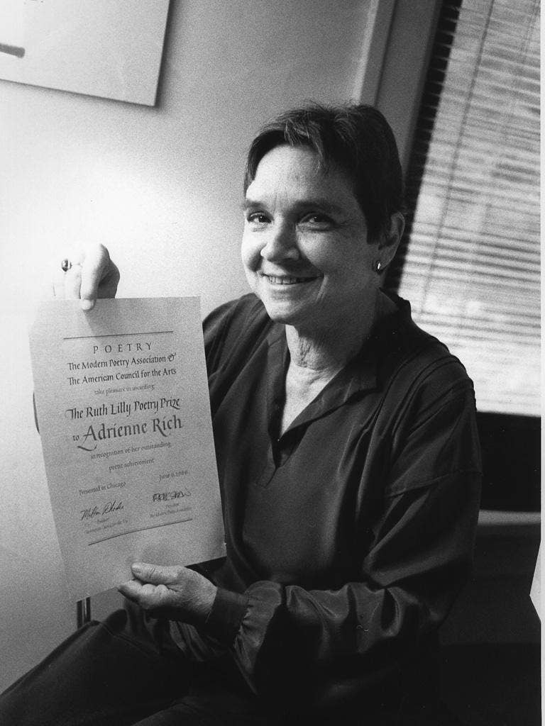 Fêted: Rich with her Ruth Lilly Poetry Prize award in 1986
