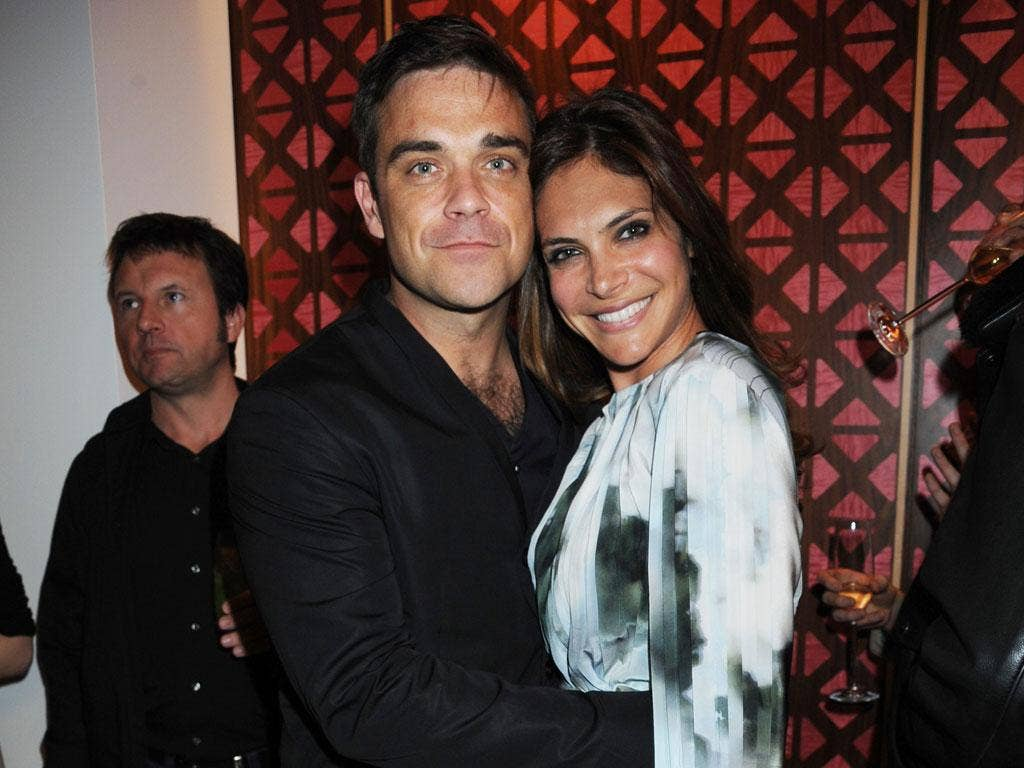 Robbie Williams and wife Ayda Field last month