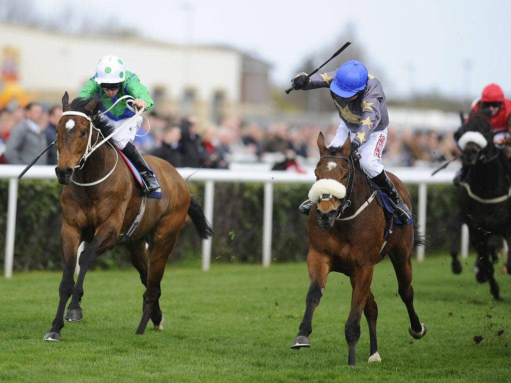 On the ascent: Brae Hill (blue cap) wins the Lincoln from Mull Of Killough