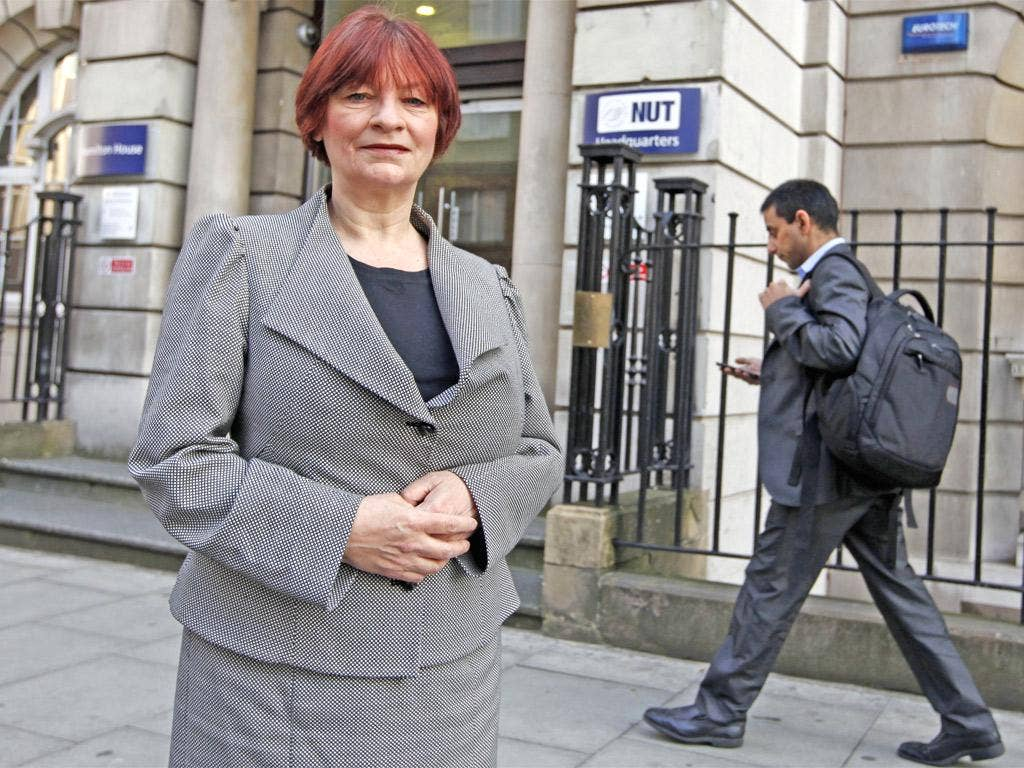 Standing firm: Christine Blower, general secretary of the National Union of Teachers, outside the union's headquarters in London