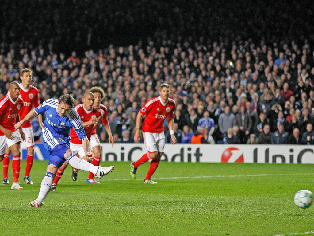 Frank Lampard fires in the first-half penalty which put Chelsea on the way to the semi-finals