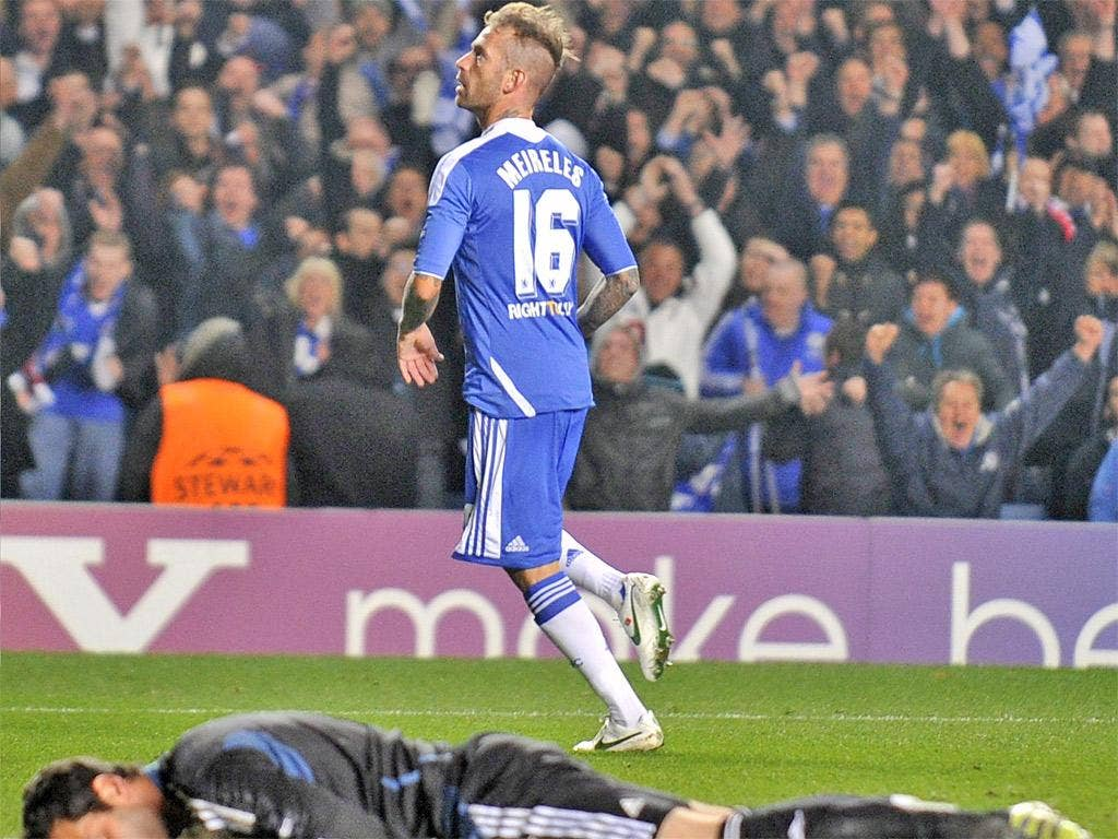 Raul Meireles enjoys the moment, Artur is left helpless as the Portuguese's late strike finally sees off Benfica