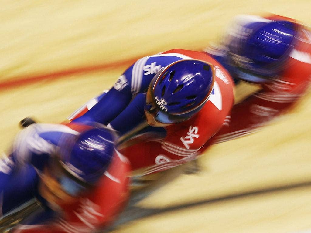The British women's pursuit team win gold at the World Track Championships in Melbourne yesterday