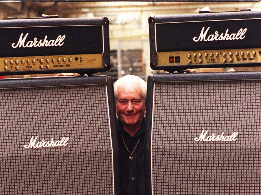 'Fender was too clean...': Marshall with his amps in 1999