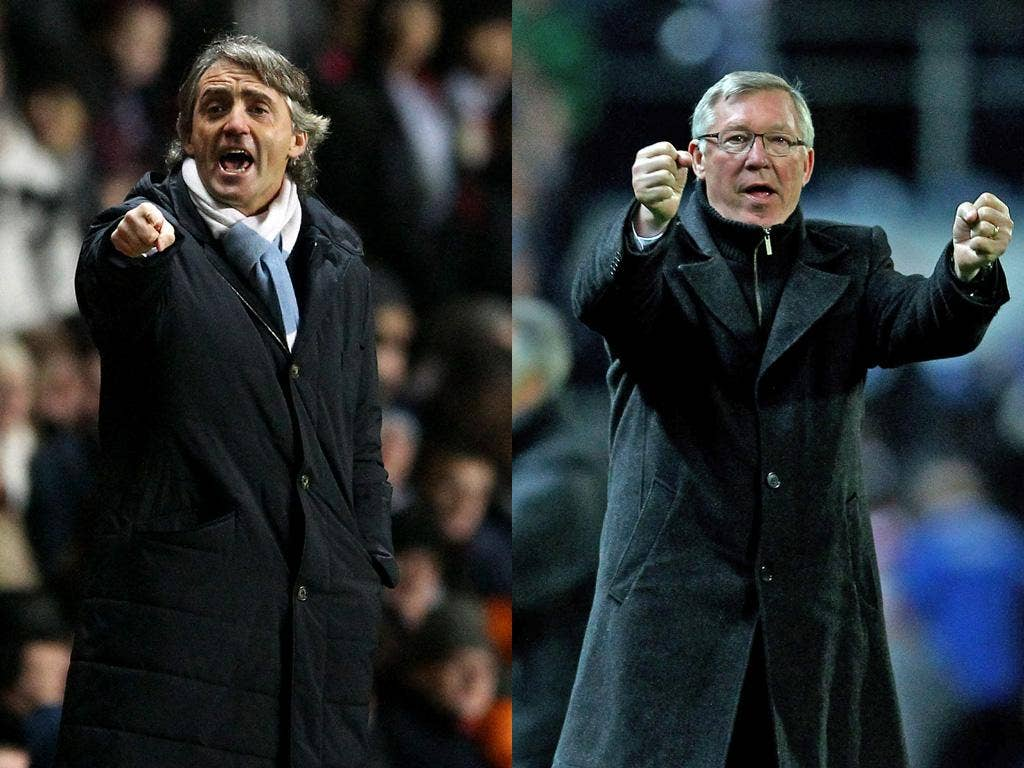 Mancini (left) and Ferguson know the race is run if Arsenal win tomorrow