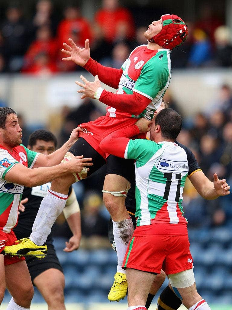 Big Ben: Biarritz's Benoît Guyot jumps for the ball during the win over Wasps