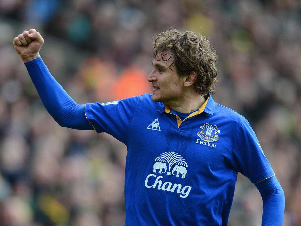 Jel fire: The in-form Nikica Jelavic put Everton ahead twice in the game