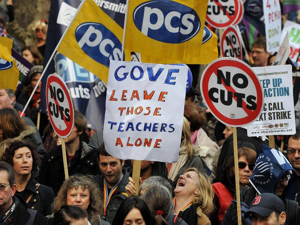 Teachers and lecturers held a one-day strike in London late last month over staff and pension cuts