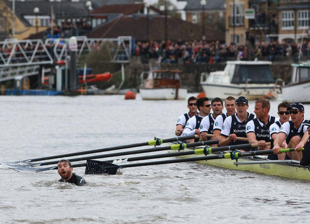 <b>7 April 2012</b><br/> A man in the river forces the 158th Boat Race between Oxford and Cambridge to be restarted. Cambridge went on to win after Oxford broke an oar shortly after the race resumed, effectively ending any contest.