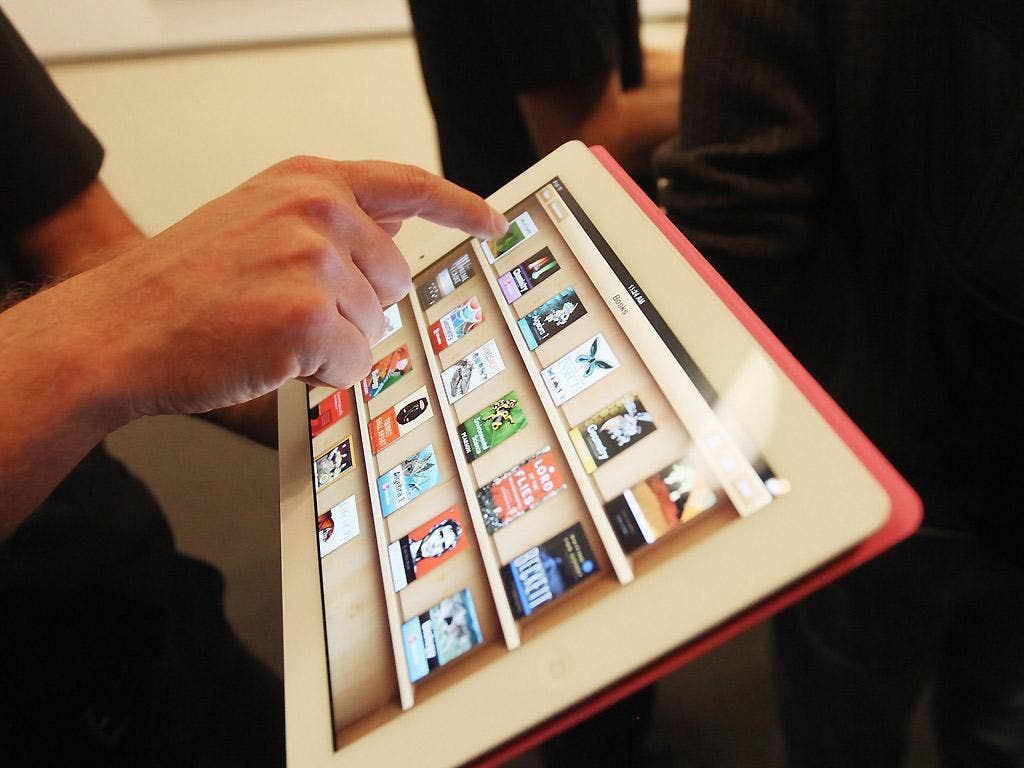 Apple's iBooks 2 app demonstrated on an iPad in January 2012 in New York City