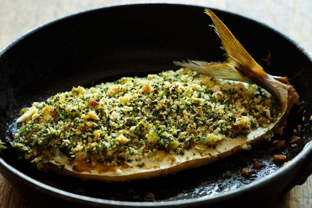 Baked mackerel with mustard and Parmesan crust