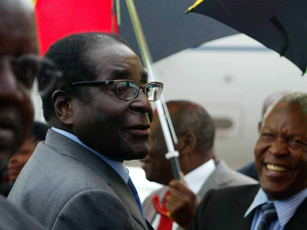 Robert Mugabe arrived home from Asia this morning