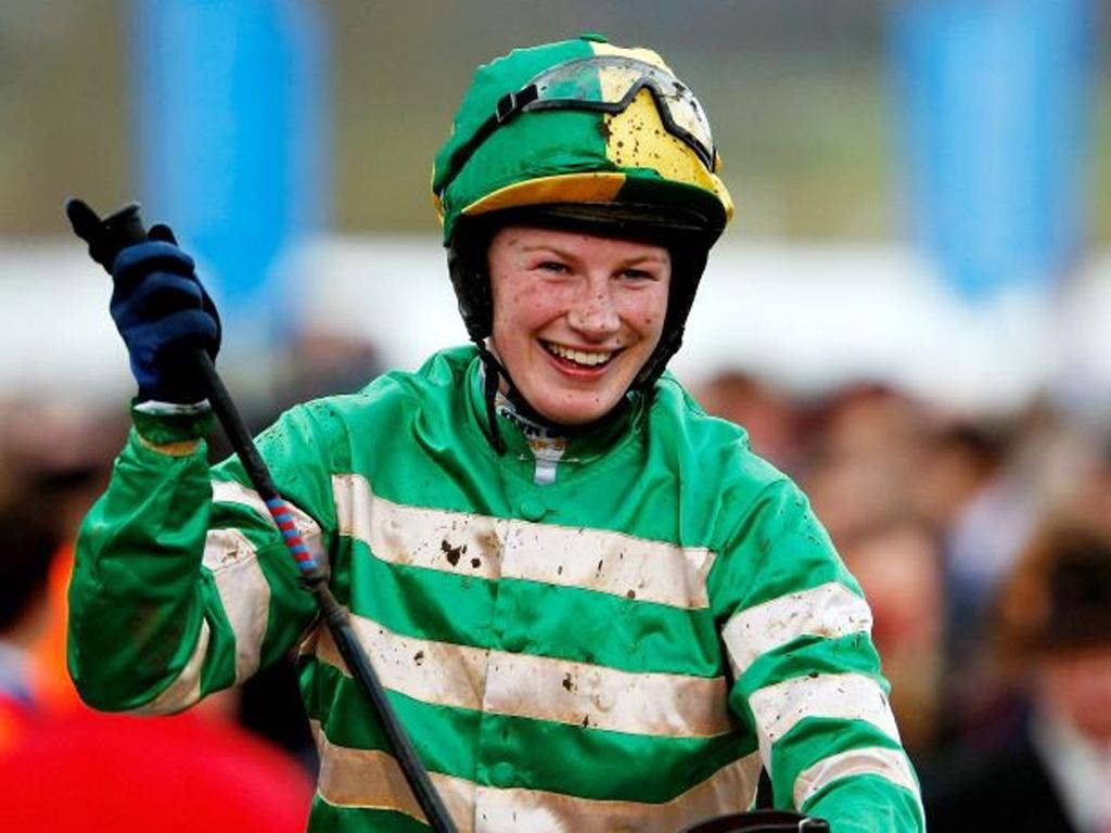 Nina Carberry will be aiming for a historic success in today's Grand National