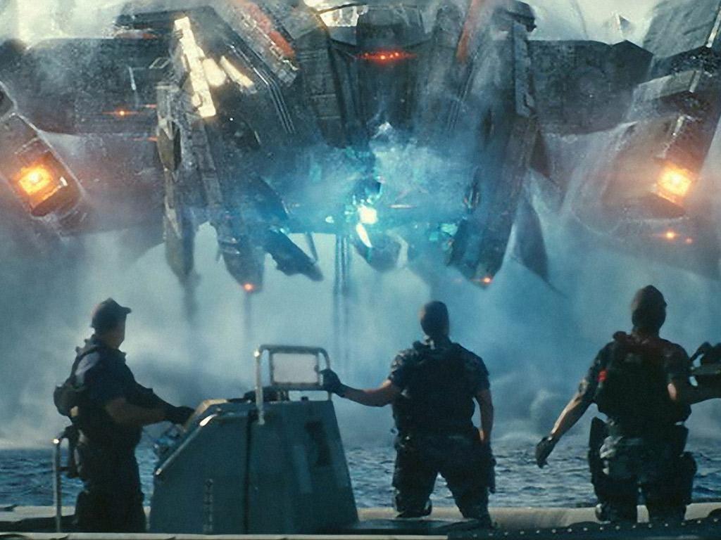 From left, John Tui, Taylor Kitsch and Rihanna in the super-violent <i>Battleship</i>