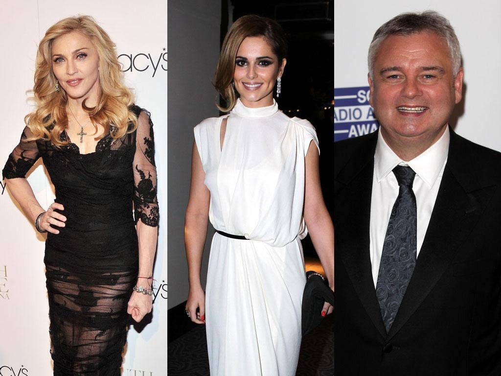 Top Twitterers: (left to right) Madonna, Cheryl Cole and TV host Eamonn Holmes have all been involved in tweet spats