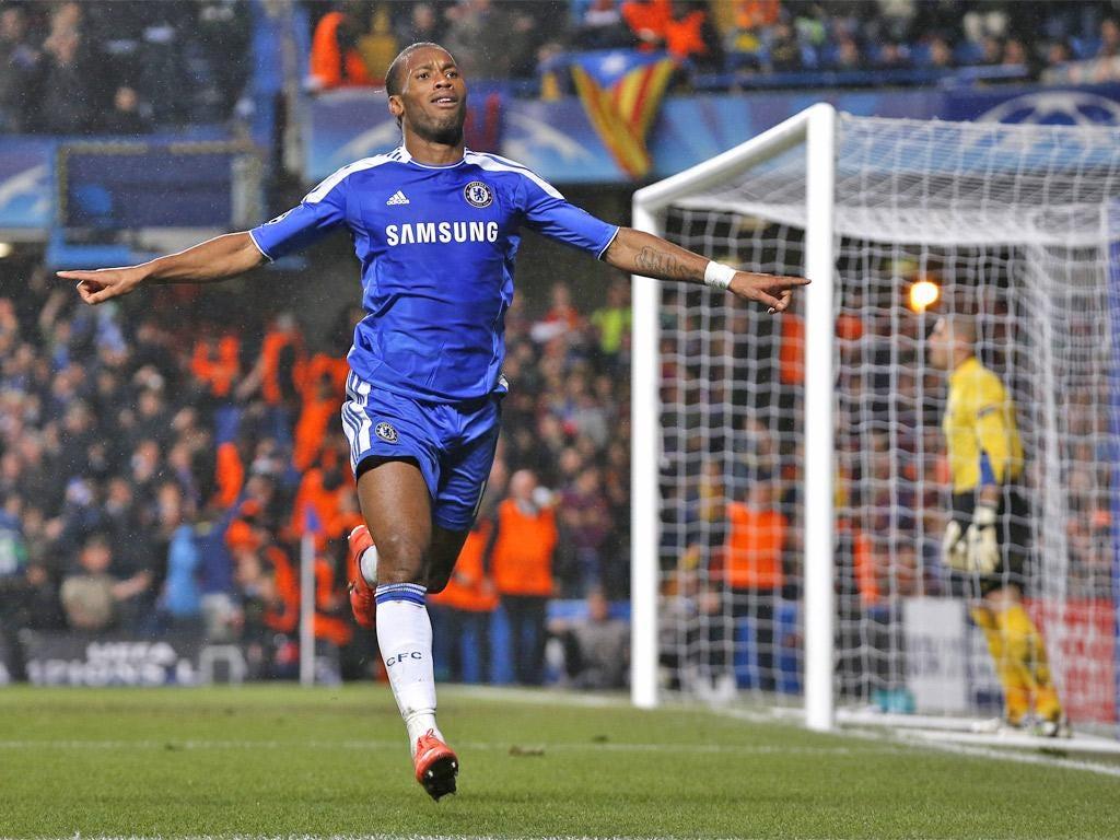 Didier Drogba celebrates his goal
