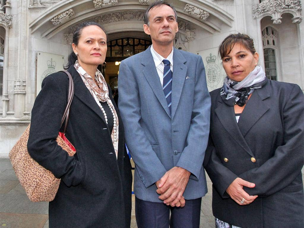 From left, Ellena Tavioni, Alistair Macquarie and Tere Carr are have travelled 10,000 miles to state their case in London