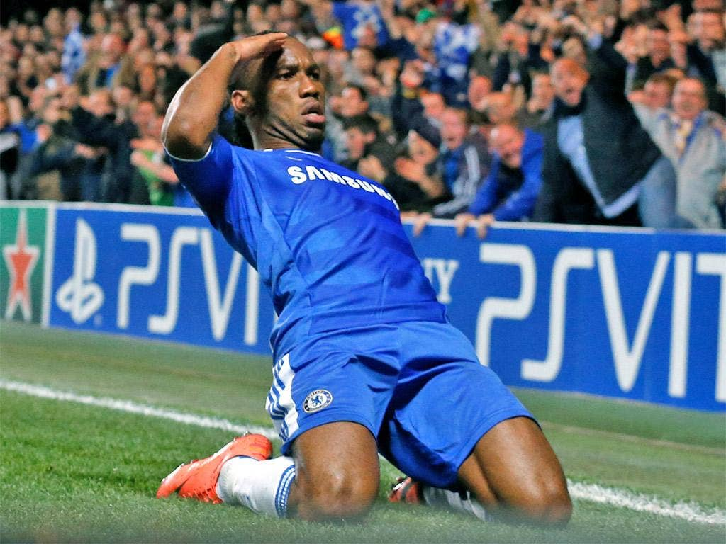 Didier Drogba salutes the crowd after his winner last night