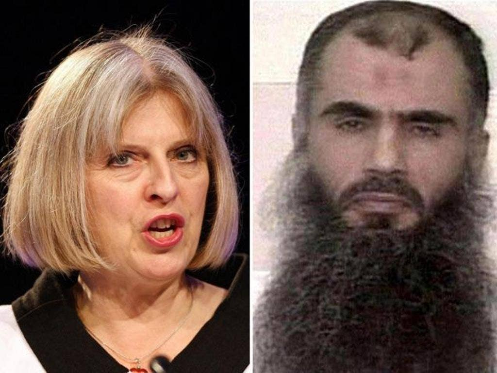 Theresa May (l) and Abu Qatada. The Home Secretary is again under fire for her handling of the deportation of the radical cleric.