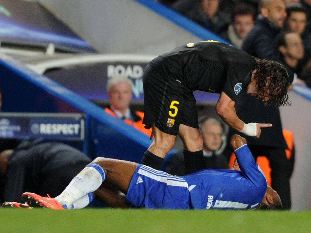 """Carles Puyol: """"What's a nice guy like you doing in a dive like this?"""" (20/04/12) <br/><br/> <a href=""""http://www.independent.co.uk/captions"""" target=""""new"""">To enter the current caption competition, click here.</a>"""