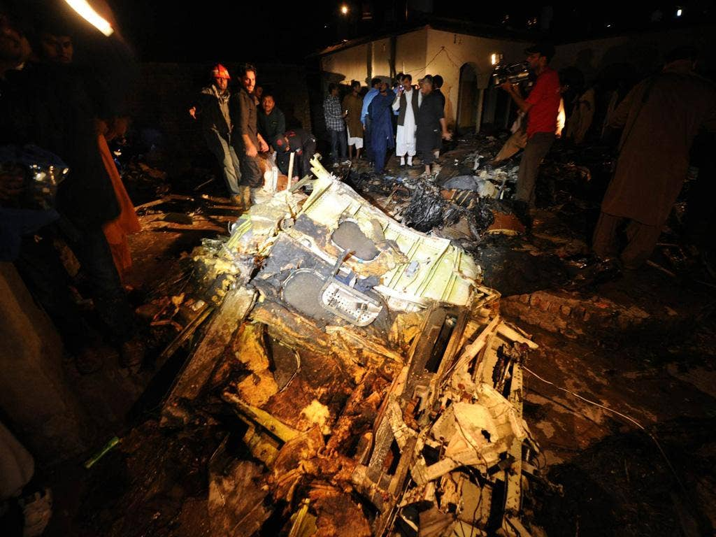 Officials at the site of the plane, which had flown from Karachi