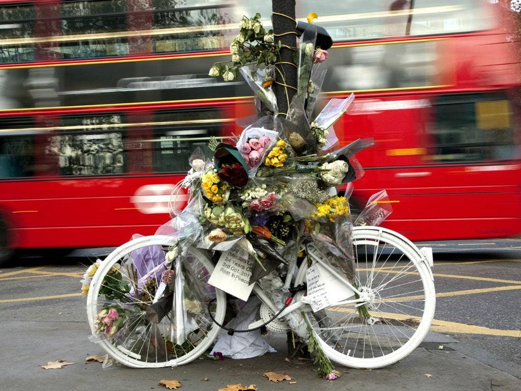 Death on two wheels: a 'ghost bike' memorial to Deep Lee, a cyclist killed at King's Cross in London