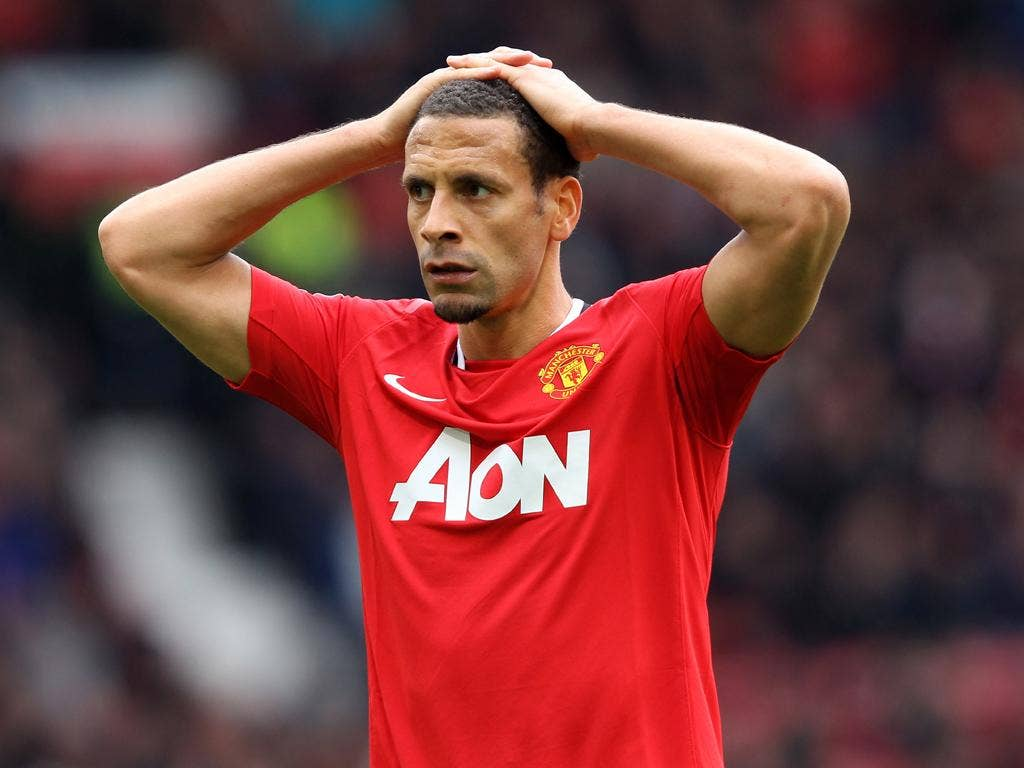 Rio Ferdinand shows his disappointment after Manchester United squandered a two goal lead against Everton