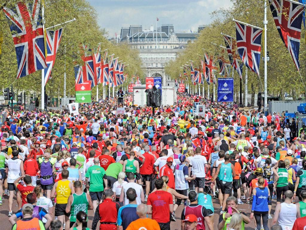 About 37,500 runners took part in the London Marathon, which finished in front of Buckingham Palace