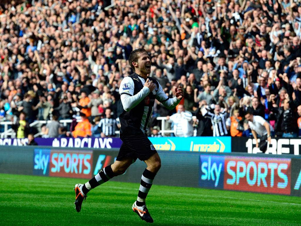 <b>Newcastle 3-0 Stoke</b><br/> Yohan Cabaye celebrates after scoring as Newcastle recorded a comfortable win over Stoke. The Frenchman produced a man of the match performance, scoring twice and providing the assist for Papiss Cissé's goal, as his side's