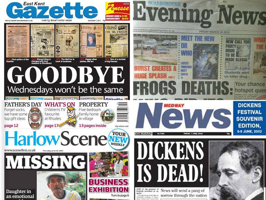 A selection of some of the local newspapers that have either been forced to shut down recently, or switch to a less expensive weekly format