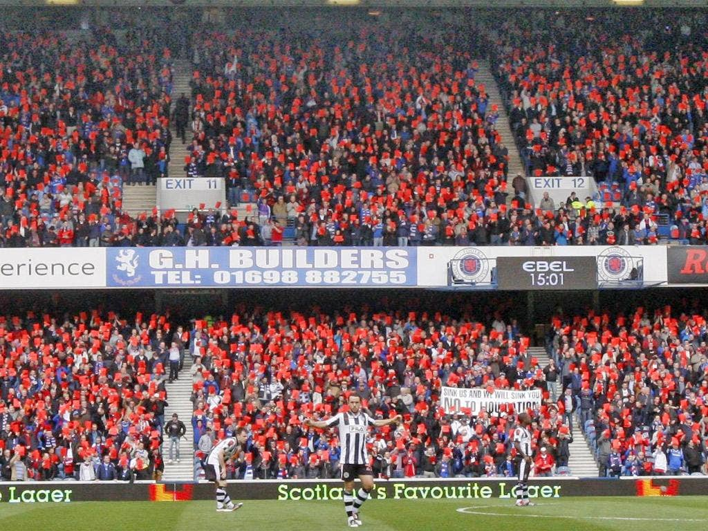 Rangers fans take part in a demonstration at Ibrox on Saturday