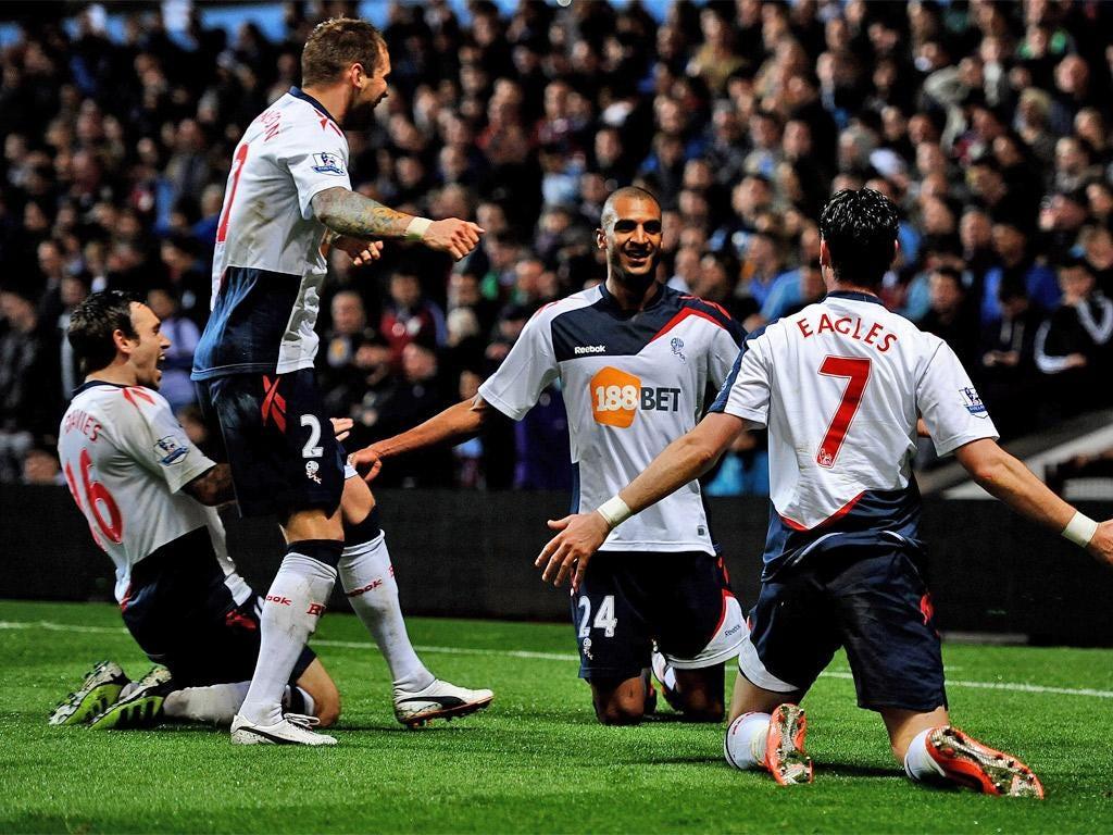 David Ngog of Bolton Wanderers celebrates scoring the winning goal
