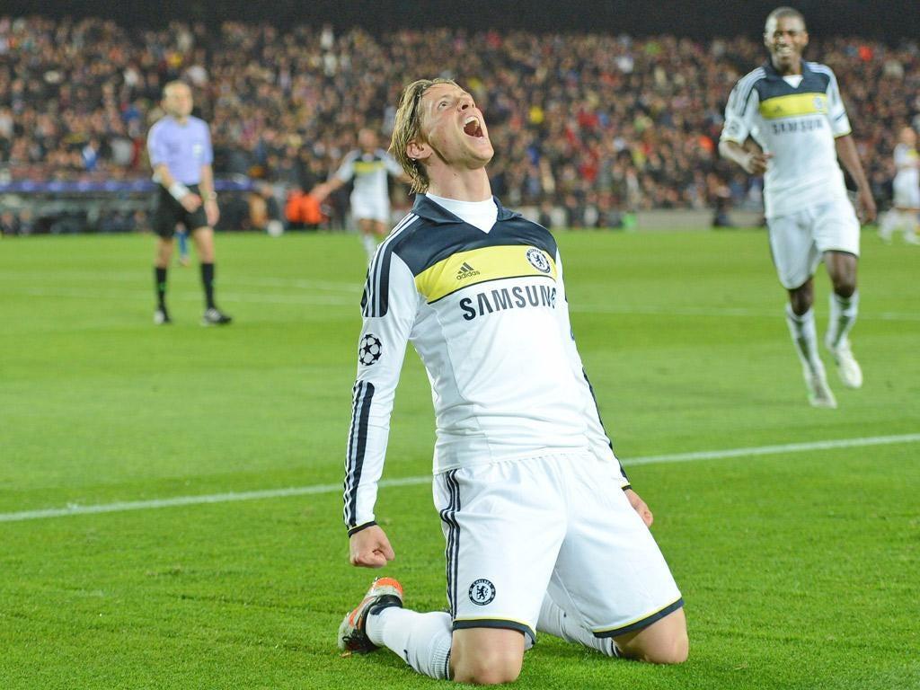 Fernando Torres celebrates scoring Chelsea's second goal of the night