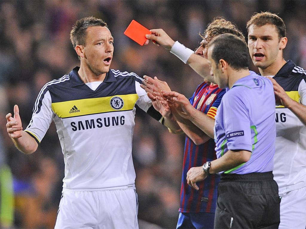 John Terry cannot believe he has been sent off - but he had to go